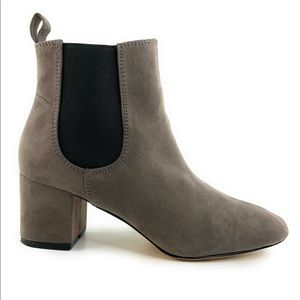 Express Faux Suede Chunky Heel Ankle Booties